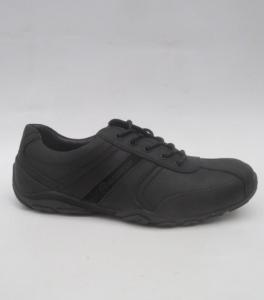 Мужские черные кожаные кроссовки 1604 BLACK - купить оптом