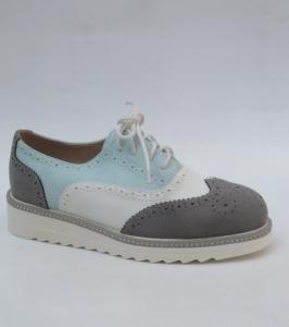 Женские туфли оптом - молодежные мокасины на шнурке 7222-5 GREY