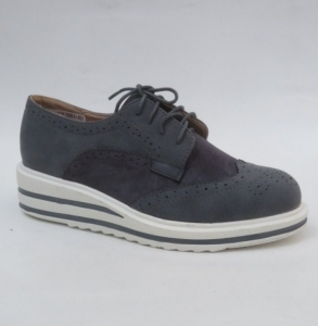 Женские туфли оптом - мокасины на шнурке 7224-5 GREY