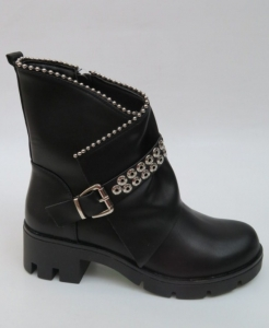 Женская обувь осень - оптом черные молодежные осенние ботинки A-337 BLAC