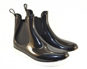 В наличии женская обувь оптом - классные силиконовые ботинки на белой подошве 396-002