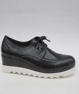 Женские туфли оптом - черные туфли на танкетки GF-FD8 BLACK