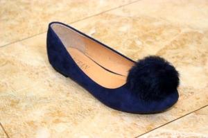 В наличии женская обувь оптом - синие балетки с пушком B6218Y BLUE