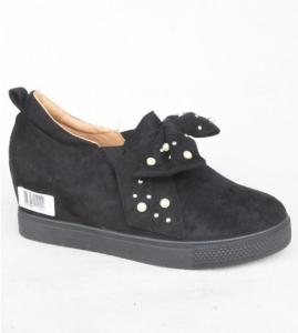 Женские туфли оптом - женские слипоны на танкетке 6186 BLACK