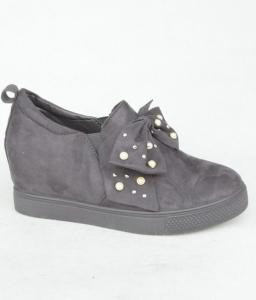 Женские туфли оптом - стильные слипоны на скрытой танкетке 6186 GREY