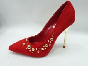 Туфли на шпильке оптом - яркие красные туфли DD55 RED