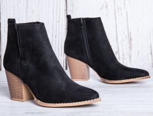 Женская обувь осень - оптом черные ботинки ze03 black